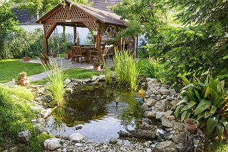Garden pond and seating area